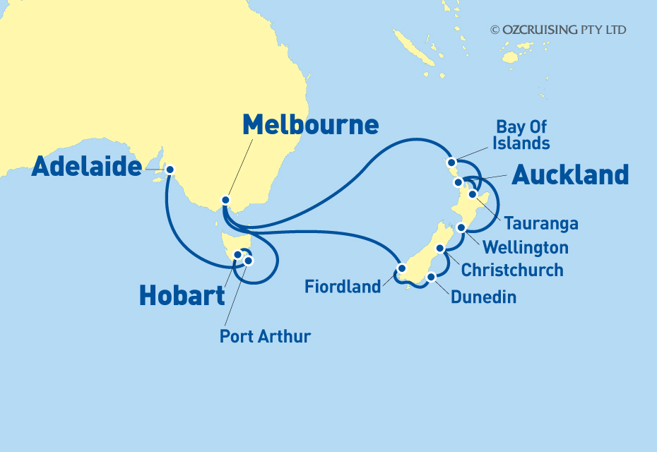 Queen Elizabeth New Zealand and Tasmania - Ozcruising.com.au